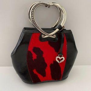 Brighton Corazon Red Calf Hair Black Leather Bag
